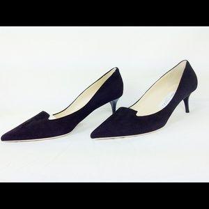 Jimmy choo allure black kitten suade heels